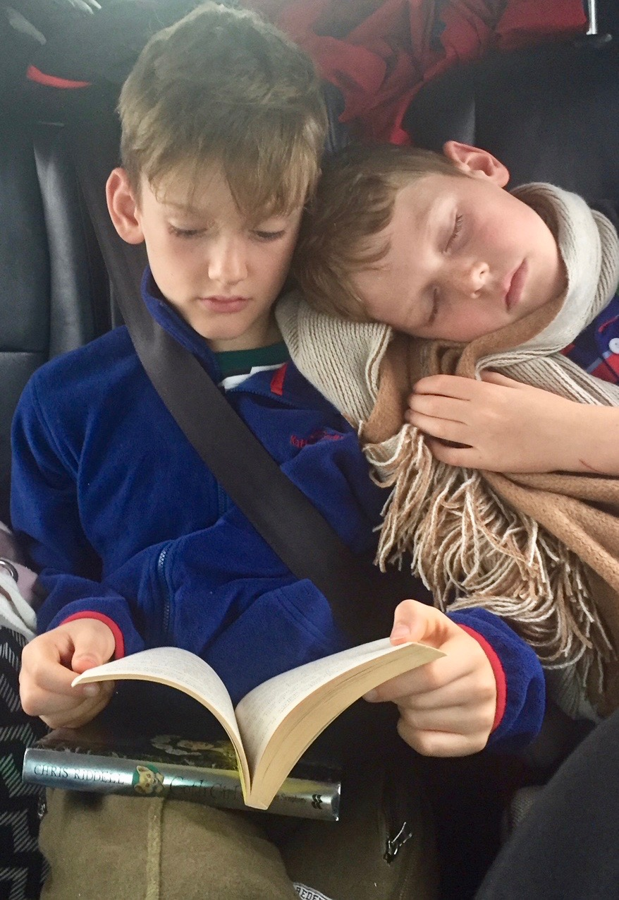 Jake and Ben reading books from Bookwagon, our online independent children's bookshop