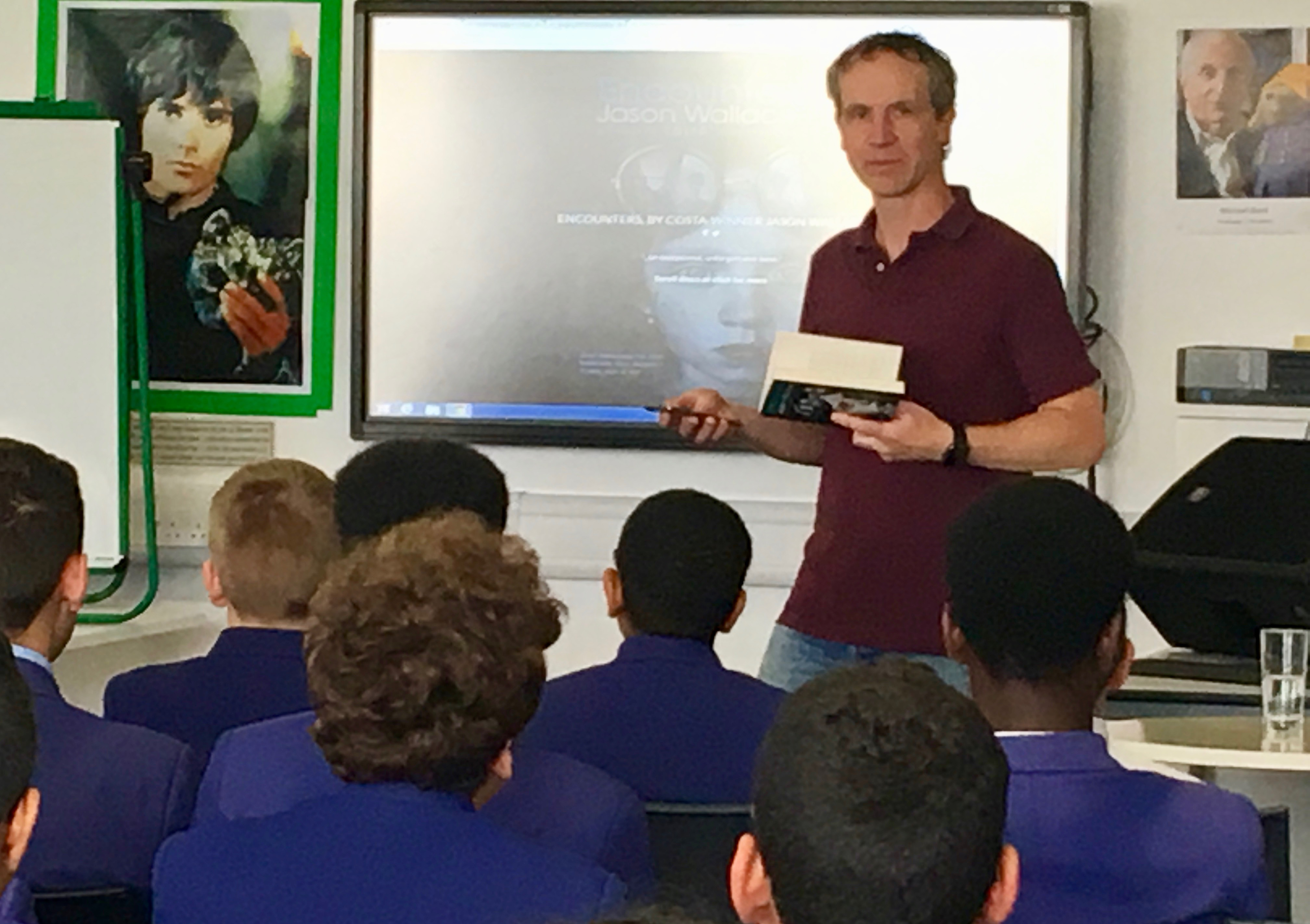 Jason Wallace with Year 8 students