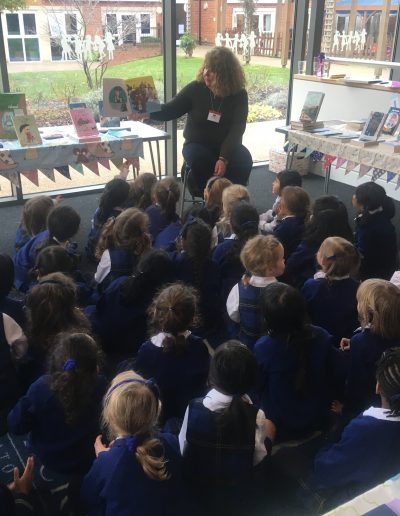 A reading for Reception during a Bookwagon book fair
