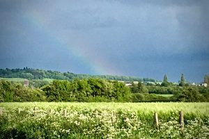 Rainbow over Oxfordshire fields Bookwagon